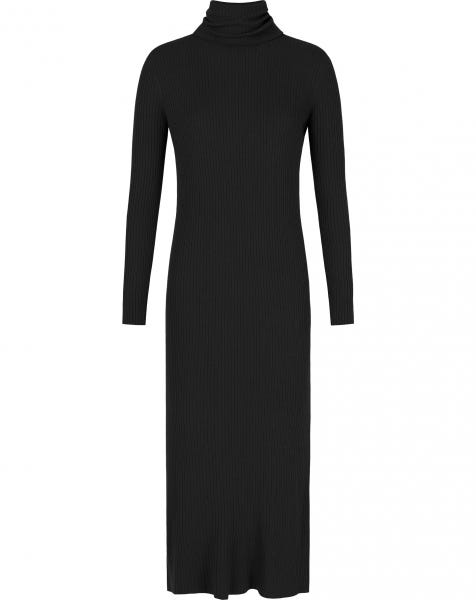 EMMY RIBBED KNIT DRESS BLACK