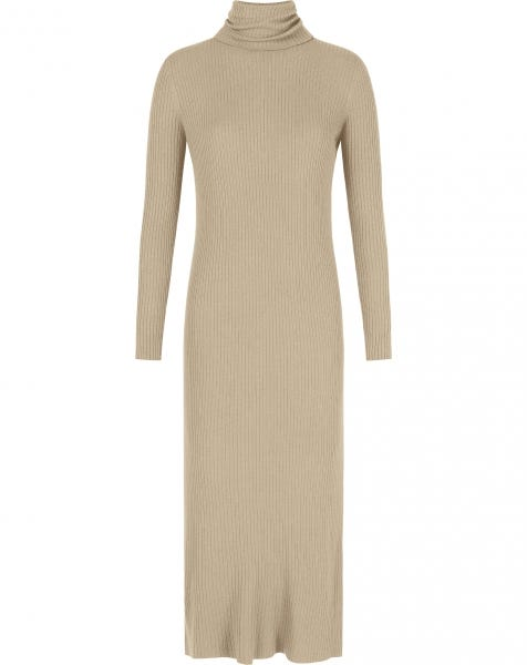 EMMY RIBBED KNIT DRESS CAMEL