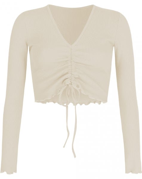 HOLLY LACE UP TOP BEIGE