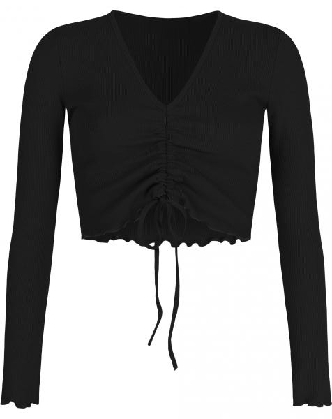 HOLLY LACE UP TOP BLACK