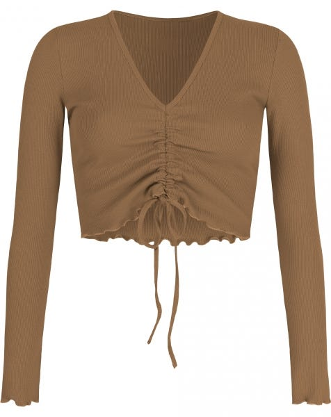 HOLLY LACE UP TOP CAMEL