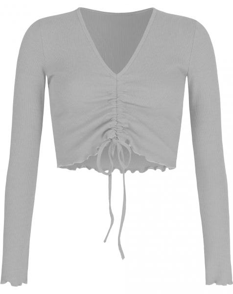 HOLLY LACE UP TOP GREY