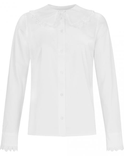 BRODERIE RUFFLE BLOUSE WHITE