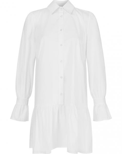 POPLIN RUFFLE DRESS WHITE