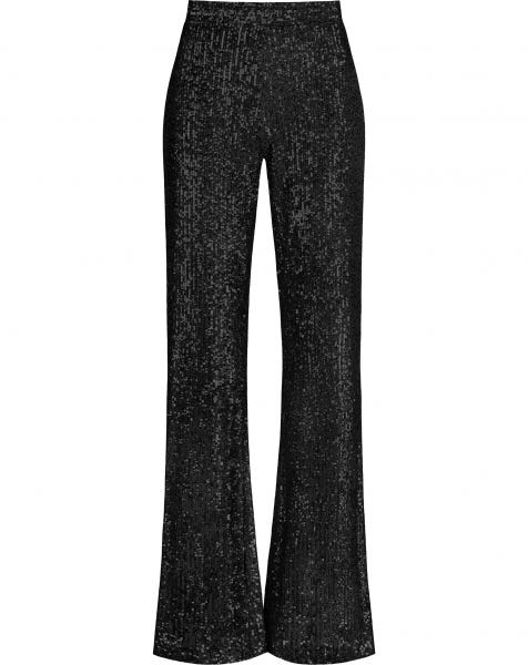 SEQUIN FLARED PANTS BLACK