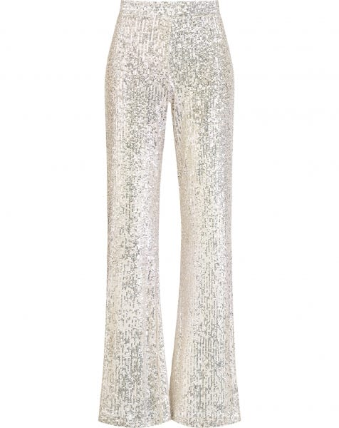 SEQUIN FLARED PANTS SILVER