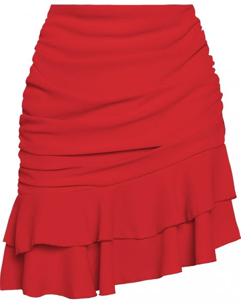 RUCHED RUFFLE SKIRT RED