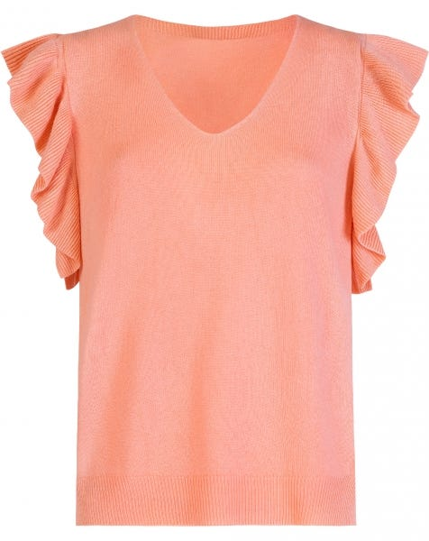 RUFFLE KNIT TOP CORAL