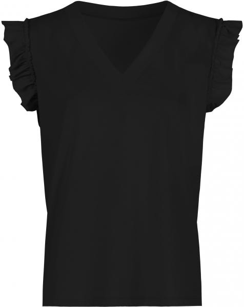RUFFLE V-NECK TEE BLACK