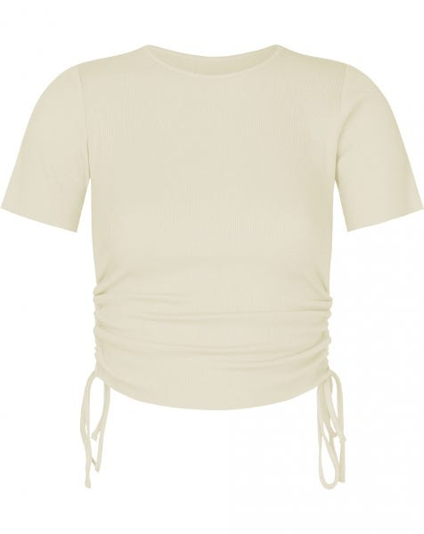 RIBBED LACE UP TOP BEIGE