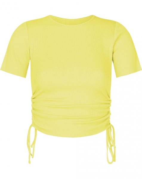 RIBBED LACE UP TOP YELLOW