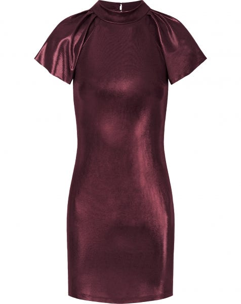 ROSE METALLIC DRESS DEEP RED