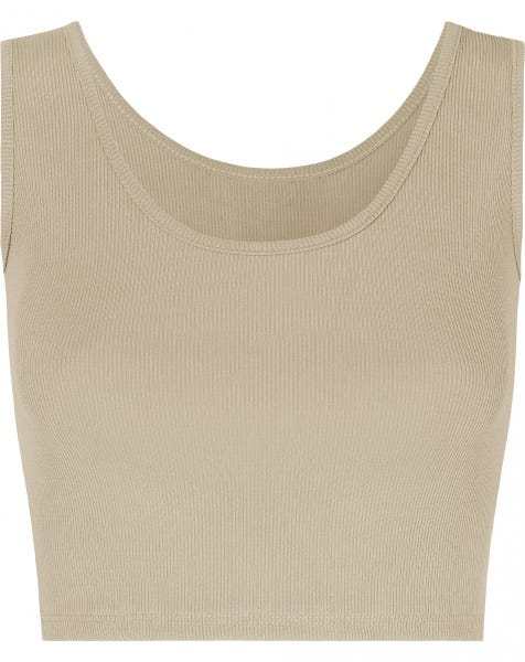 MW RIBBED CROP TOP SAND