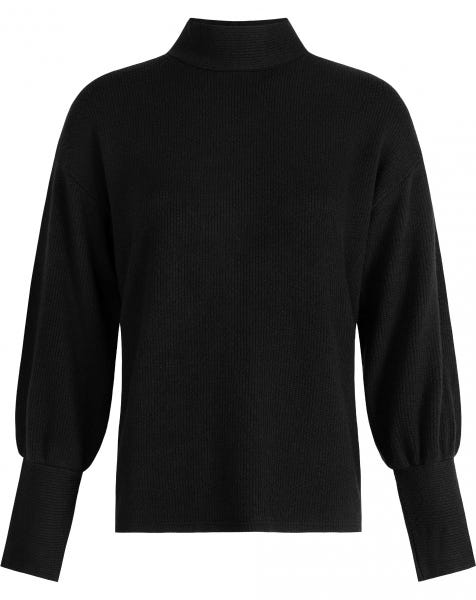 MEG RIBBED COL KNIT BLACK