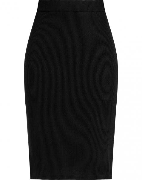 MEG RIBBED KNIT SKIRT BLACK
