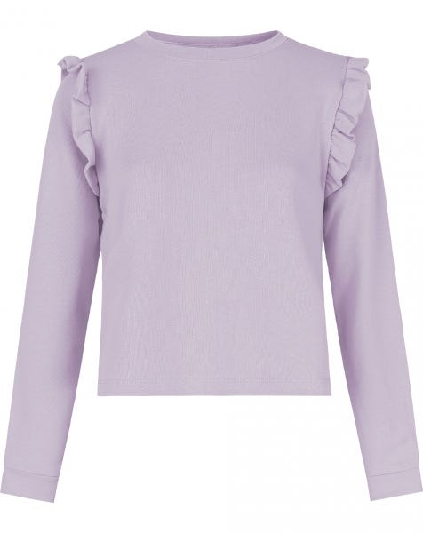 RUFFLE SWEATER LILA
