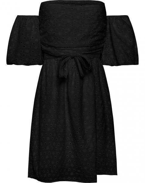 STRAPLESS BRODERIE DRESS BLACK