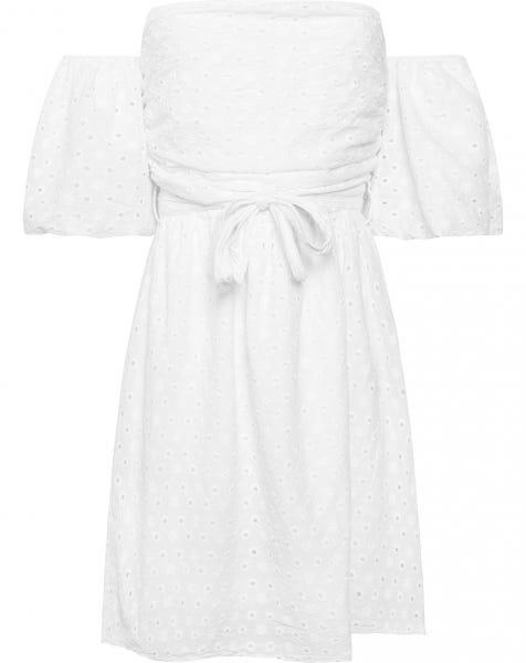 STRAPLESS BRODERIE DRESS WHITE