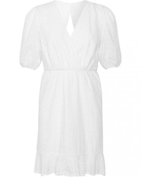 OPEN BACK BRODERIE DRESS WHITE