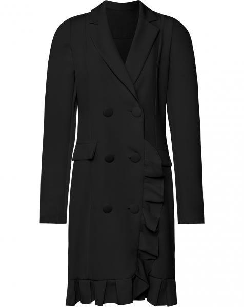 ROXY RUFFLE BLAZER DRESS BLACK