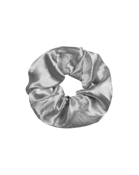 SHINY SCRUNCHIE SILVER