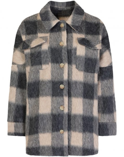 BEIGE CHECK BLOUSE JACKET