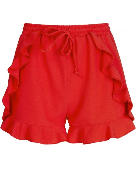 MW RUFFLE SHORTS RED