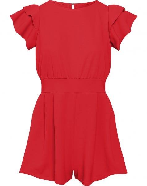 RUFFLE PLAYSUIT RED