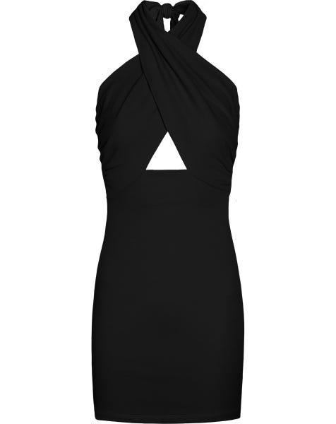 CLEO HALTER DRESS BLACK