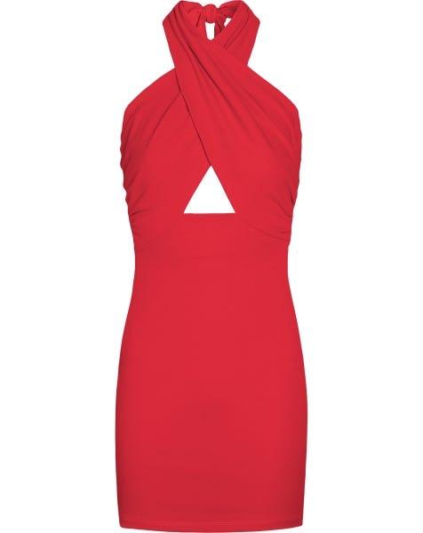 CLEO HALTER DRESS RED