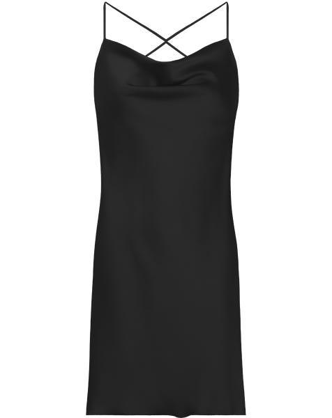 SATIN LOW BACK DRESS BLACK