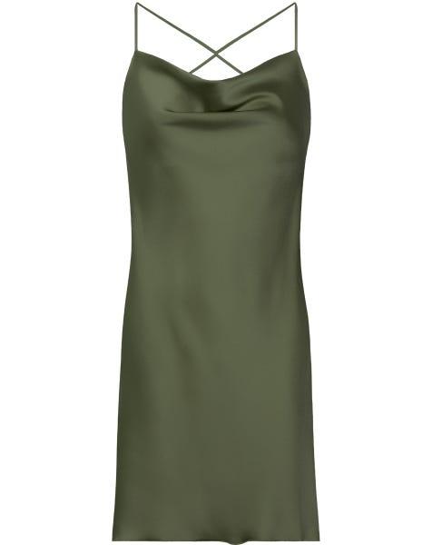 SATIN LOW BACK DRESS OLIVE