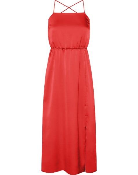 SATIN CROSSED BACK STRAPS DRESS RED