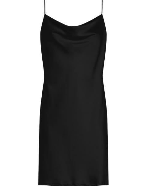 SATIN SLIP DRESS BLACK