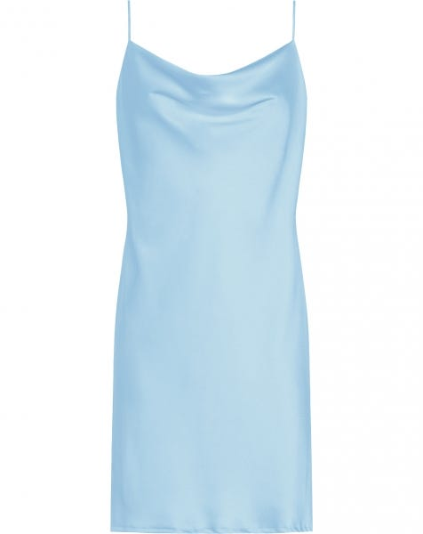 SATIN SLIP DRESS BLUE