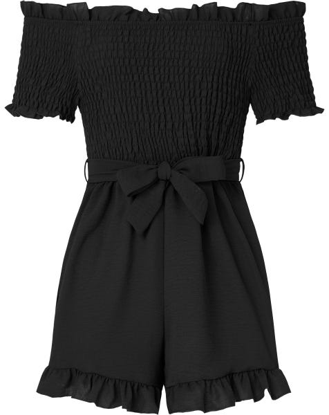 SMOCK RUFFLE PLAYSUIT BLACK