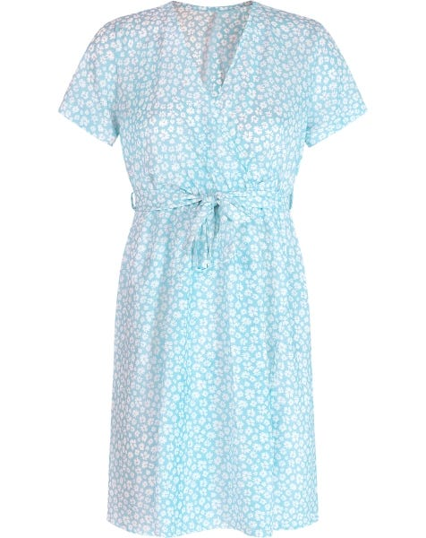 FLOWER WRAP DRESS BLUE