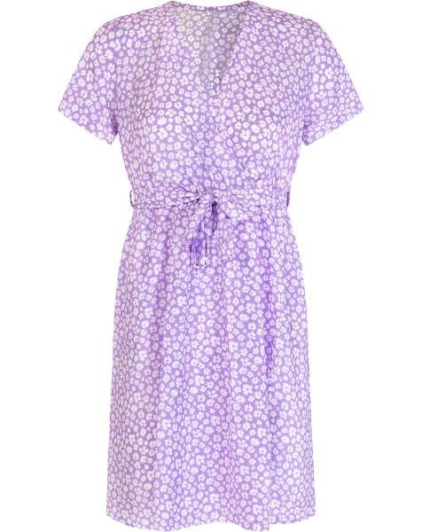 FLOWER WRAP DRESS LILA