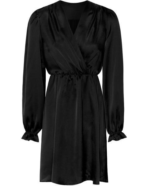 POSIE SATIN DRESS BLACK