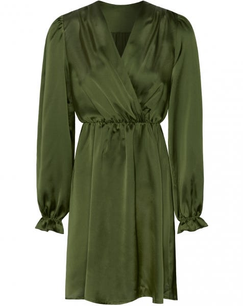 POSIE SATIN DRESS OLIVE