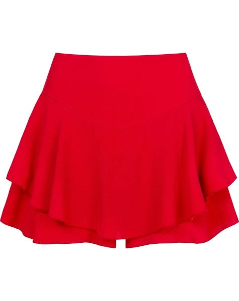 ABBY RUFFLE SKORT RED