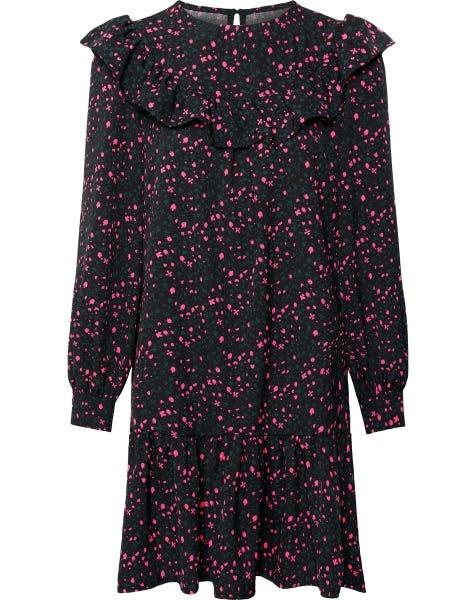 RUFFLE FLOWER DRESS BLACK