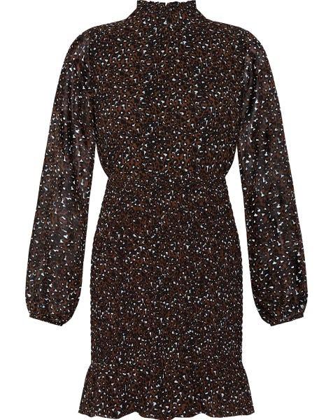 LOLA SMOCK DRESS BROWN