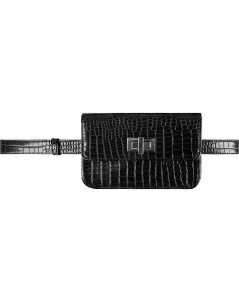 CROCO BELT BAG BLACK