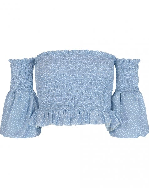 GIGI SMOCK TOP BLUE
