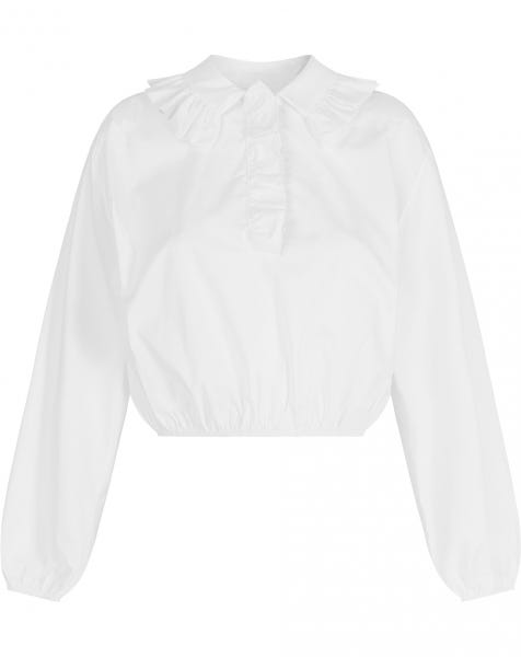 CROPPED RUFFLE BLOUSE WHITE