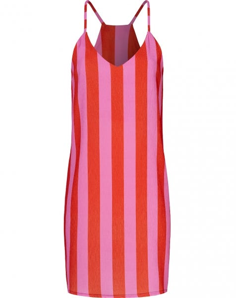 EMMA STRIPE DRESS RED
