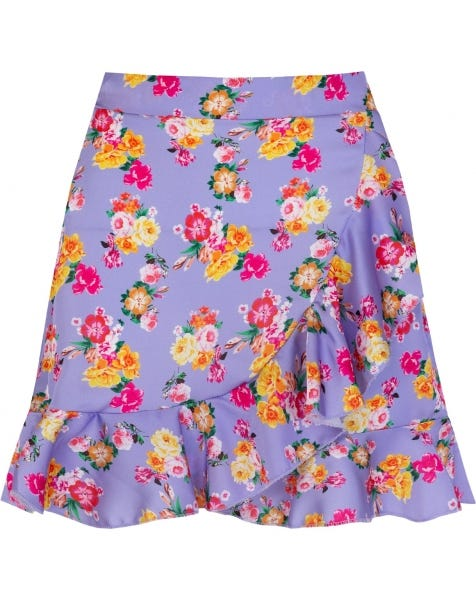 FLOWER WRAP SKIRT LILA