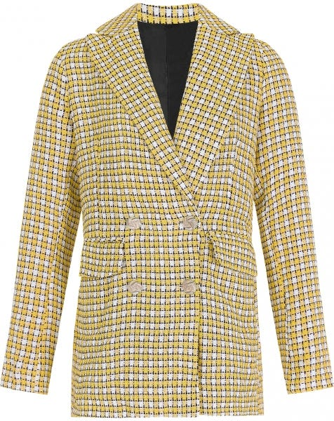 BOUCLE CHECK JACKET YELLOW