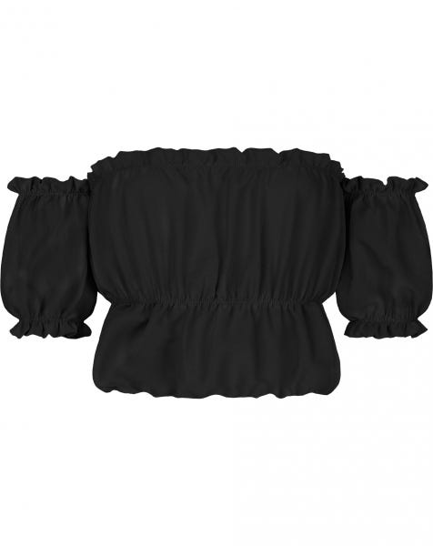 ROSE FRILL TOP BLACK